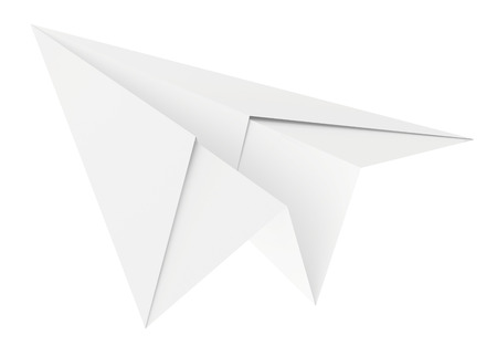 sent: Paper plane. Isolated on white background. Clean 3d render.