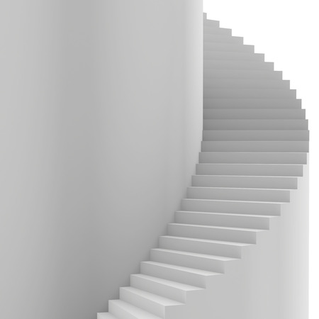 Spiral staircase. 3d render on white background.