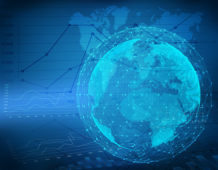 Globe network connection on finance chart abstract background.  Banco de Imagens