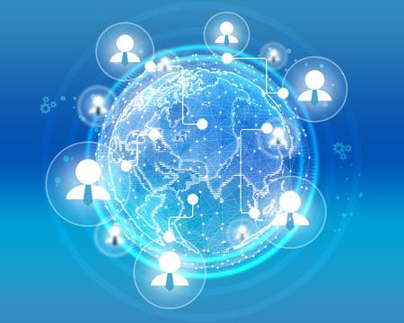 gears: Iconos de los empresarios en la red global combinada.