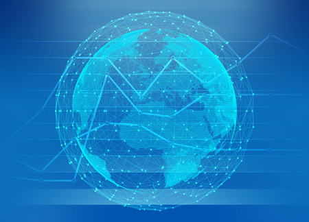 international monitoring: Globe world map network connection on chart abstract background. Stock Photo