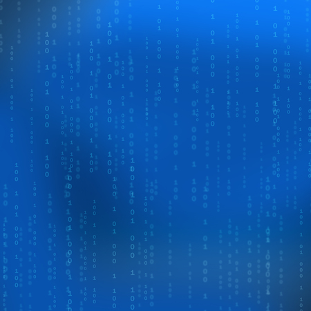 listing: Blue background with computer binary code listing table. Stock Photo
