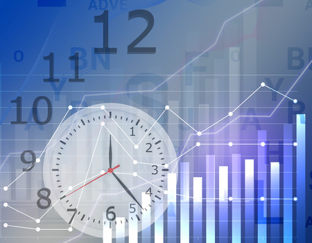 profits: Business graph clock time with grid showing profits and gains