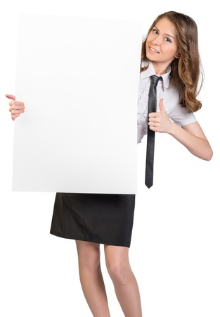 thumbup: Business woman holding a large blank billboard and shows sign thumb-up. Stock Photo