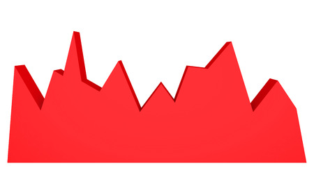 demographic: 3d red graph on white background. Abstract chart.