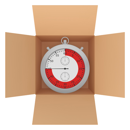 line red: Metal stopwatch with red line inside a cardboard box. Archivio Fotografico