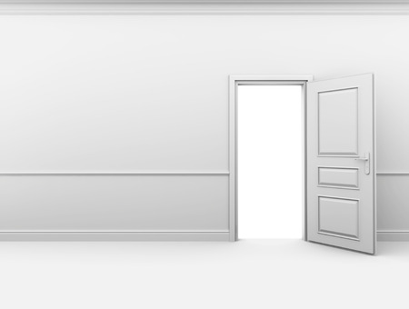 baseboard: White empty room with an open door in the wall. Stock Photo