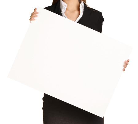 white board: Woman headless holding a blank white board. Stock Photo
