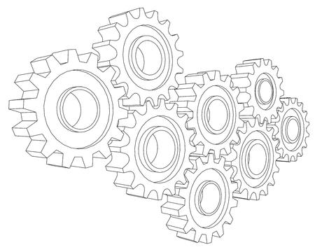 cog wheel: Vector Cog wheel gear mechanism close-up. White background.