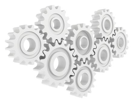 gear mechanism: Cog wheel gear mechanism close-up. White background.
