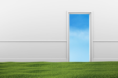 Green grass lawn in the room. Open doorway with blue sky. Stock Photo