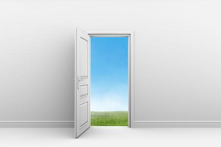 room door: White room with open door. Green grass lawn outdoors. Stock Photo