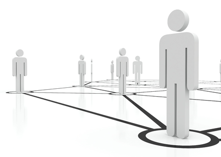 unified: People unified into network. Managing team of people on internet. Staff recruitment. Stock Photo