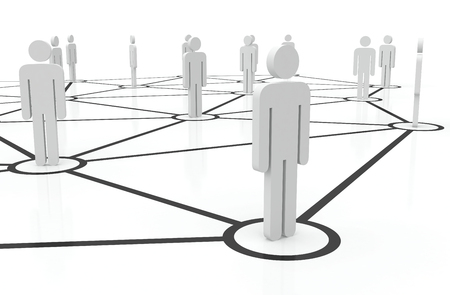 People unified into network. Managing team of people on internet. Staff recruitment. Stock Photo