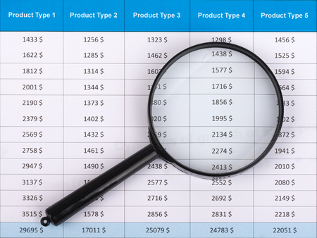 volatility: Magnifying glass lies on the statement printed on paper. Stock Photo