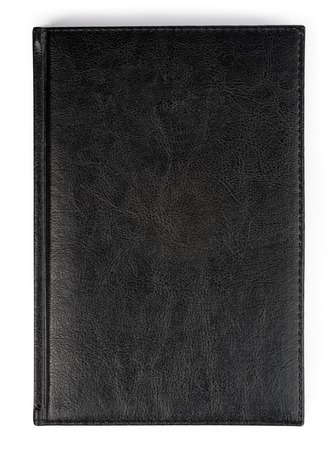 Closeup of texture leather notebook with stitching along edge. Stock Photo