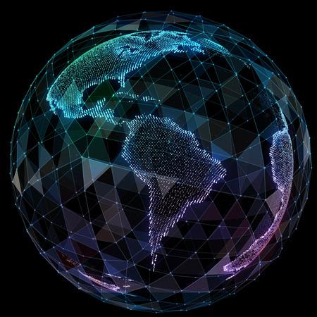 Global network internet technologies. Digital world map.
