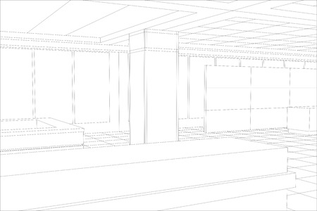 eps 10: Interior office outlined. Tracing illustration of 3d. EPS 10 vector format.