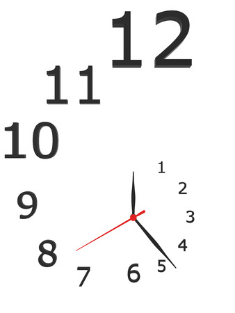 metering: Clock with arrows and numbers isolated on a white background.