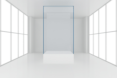 showcase: display case. 3d render showcase in white room with windows. Stock Photo