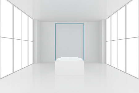 display case: display case. 3d render showcase in white room with windows. Stock Photo