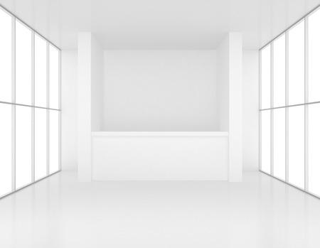 recepcion: recepción en la sala blanca con ventanas. 3d. Foto de archivo