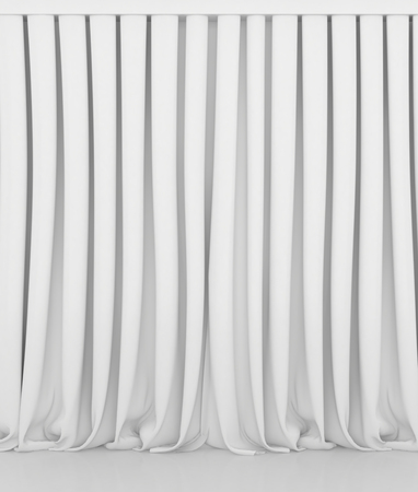 white curtain: Blank white curtain or drapes on white-gray background. Stock Photo