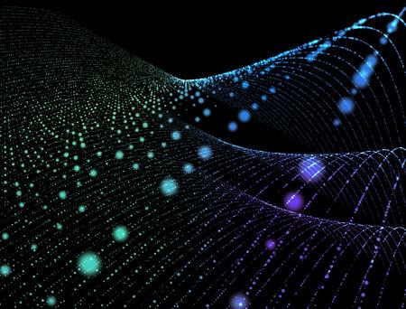 Resumen de antecedentes digital partículas en el espacio que brilla intensamente.
