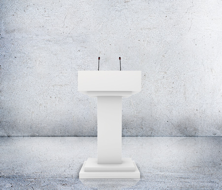debate: Speaker podium tribune rostrum stand with microphones. Debate, press conference.