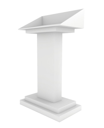 tribune: Speaker podium white tribune. 3d render isolated on white background. Debate, press conference. Stock Photo