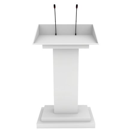 rostrum: Speaker podium white tribune rostrum stand with microphones. 3d render isolated on white background. Debate, press conference.