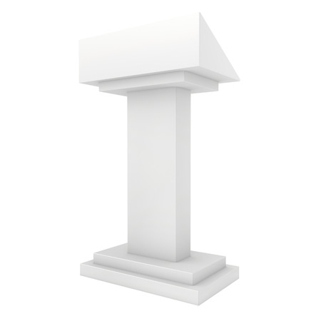 tribune: Speaker podium white tribune rostrum stand. 3d render isolated on white background. Debate, press conference.