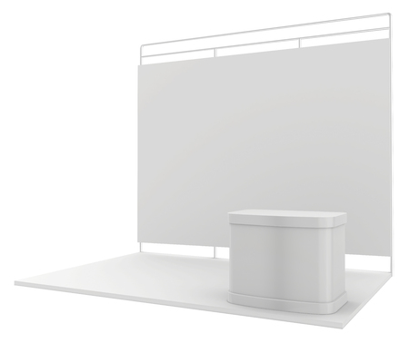 expositor: Stand de exposición en blanco. 3d render aislado en el fondo blanco.