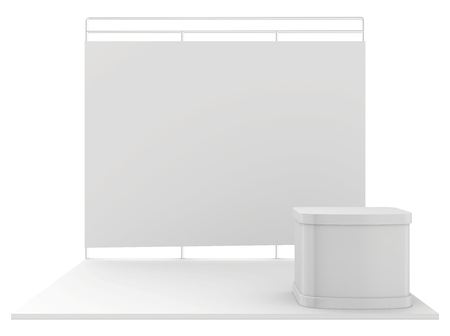 exhibitor: Stand de exposición en blanco. 3d render aislado en el fondo blanco.
