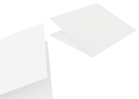 paper sheets: white sheets of paper on a white background. Stock Photo