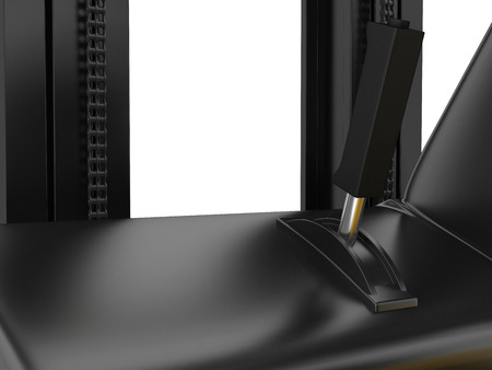 center position: Cabin forklift truck with lever on dashboard. 3d rendering.