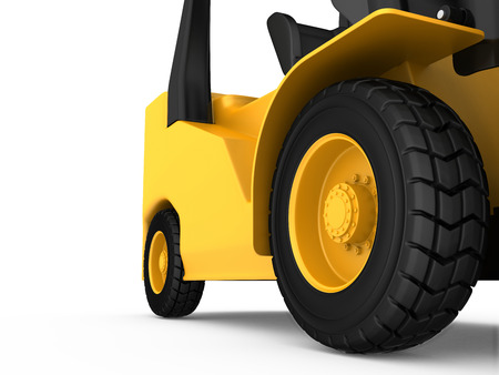 3d rendering wheel: View close-up on the wheel cargo truck. 3d rendering. Stock Photo