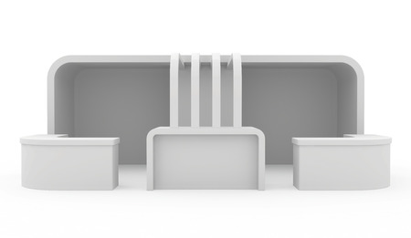 exhibitor: Blank exhibition stand. 3d render isolated on white background.