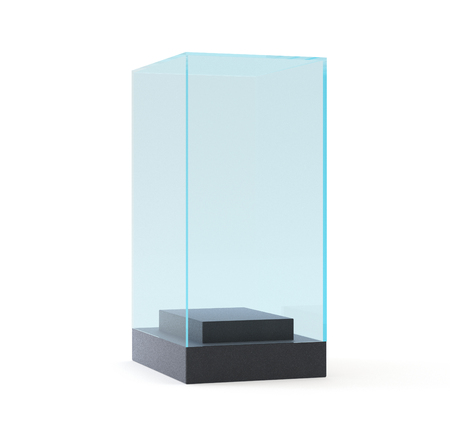 market place: 3d Empty glass showcase for exhibit. gray background