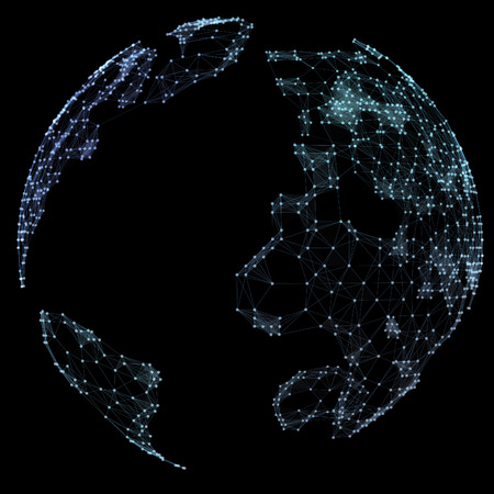 representing: World map point, line, representing the global, network connection