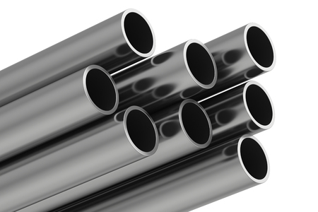 commodities: Metal pipe. 3d rendering illustration isolated on white background. Foto de archivo