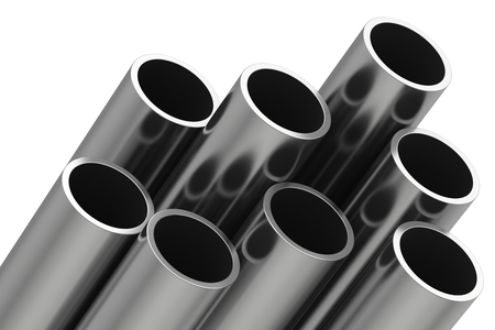 Stack of metal pipes. 3d rendering on white background