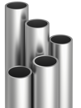 stainless: Stack of metal pipes. 3d rendering on white background