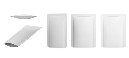Witte lege folie voedsel Doy Pack Stand Up zakje verpakking. Geïsoleerd op achtergrond. Mockup sjabloon klaar voor uw ontwerp. 3D-rendering. Stockfoto