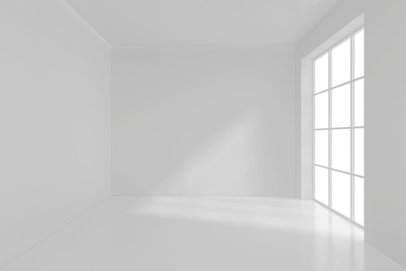blank wall: Spacious interior with blank wall and panoramic windows. 3D Rendering