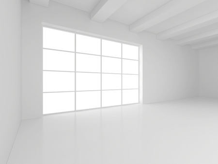 light white room and big window. 3d rendering. Фото со стока