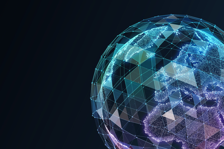 Digital World. Computer graphics made. Illustration of a technological world.
