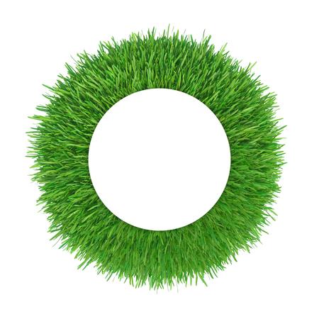 Grass fresh frame circle border isolated on white background. 3d rendering