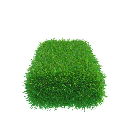 Green grass cube isolated on white background. 3d rendering