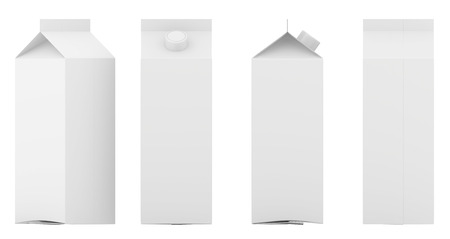 Group of empty template boxes milk and juice with lid. Retail package mockup set. Isolated on white. 3d rendering.